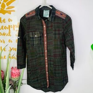 Olive Green Plaid Embroidered Shirt Dress Size 7
